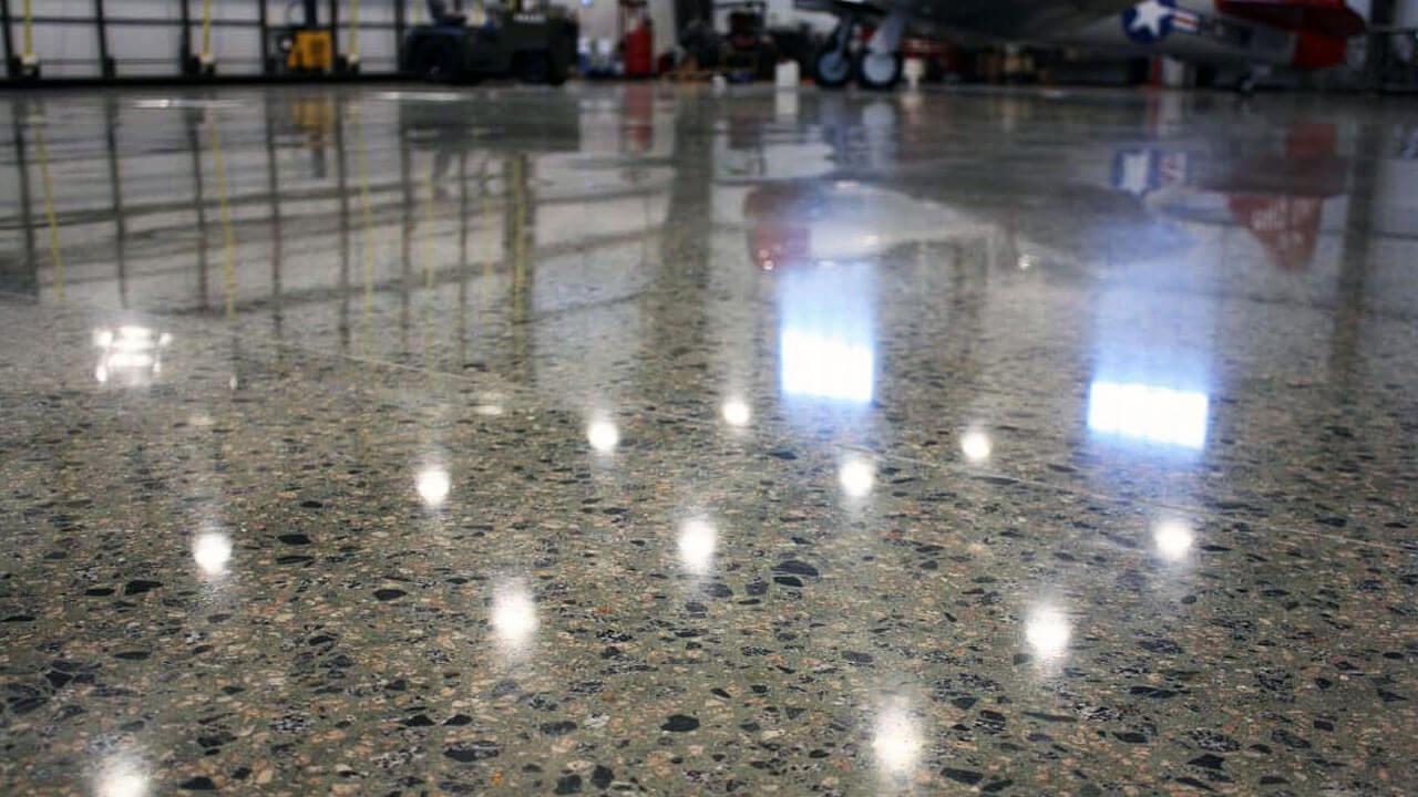 Plane Hangar Polished Concrete Floor
