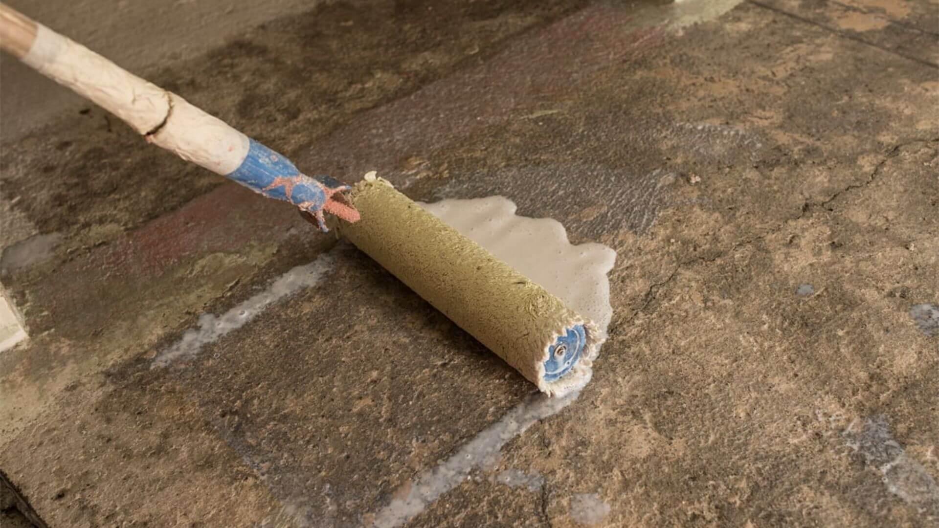Roller On Old Concrete Floor
