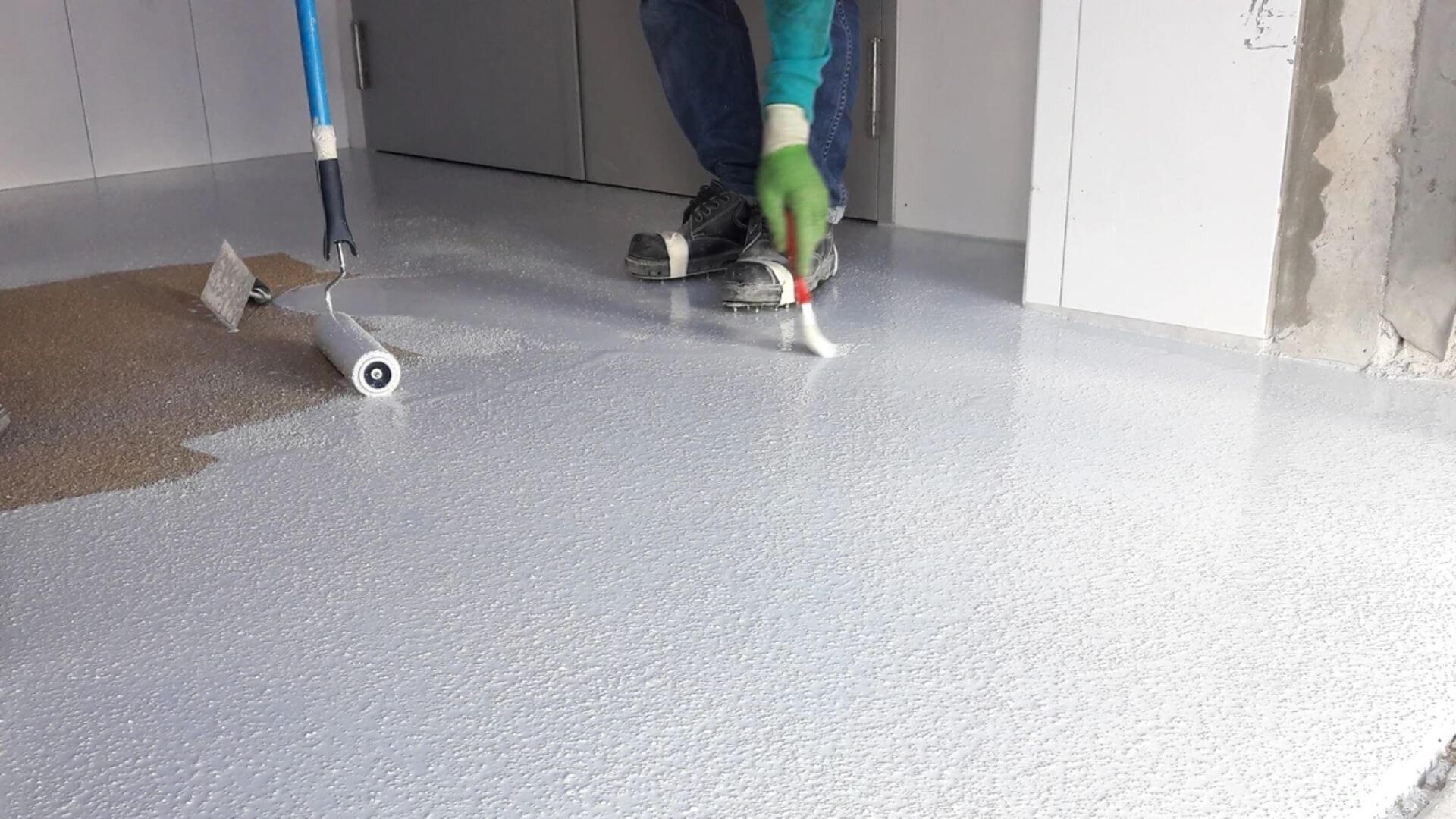 Applying Epoxy Coating To Living Room Floor