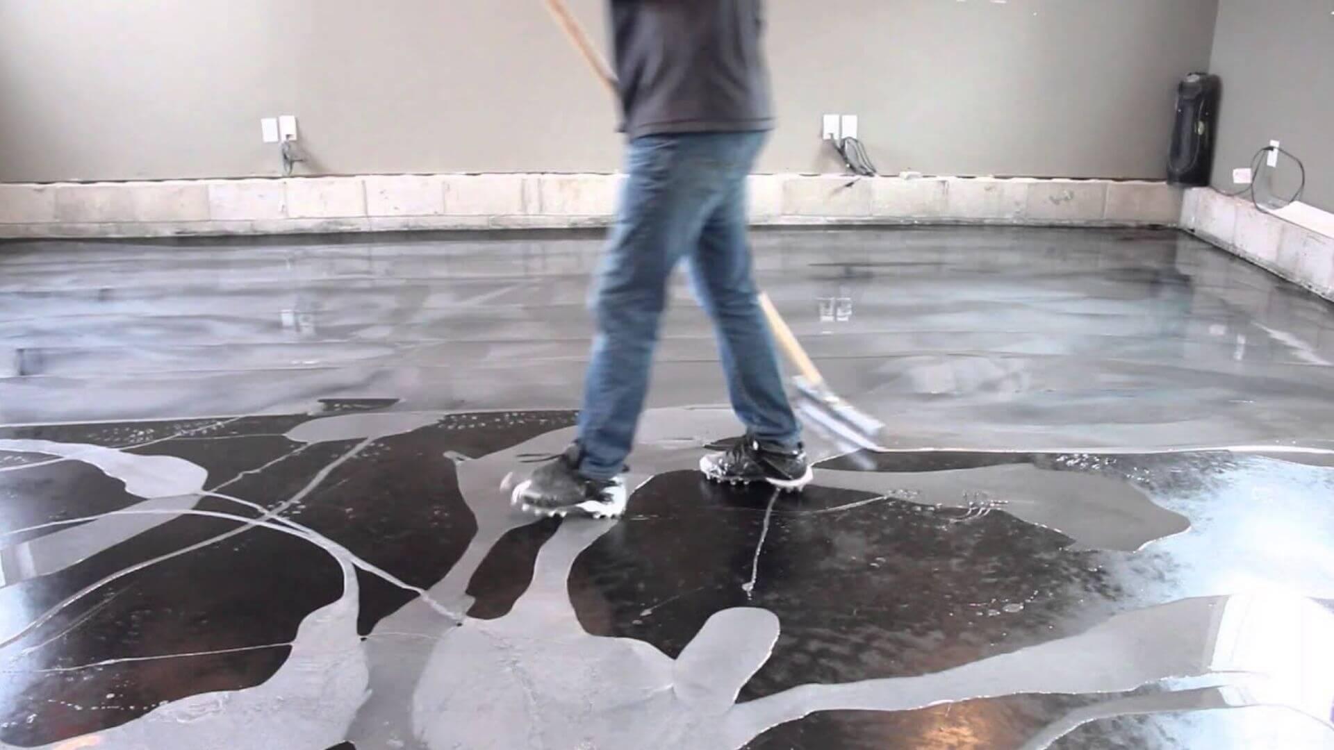 Applying Epoxy Flooring To Black Floor